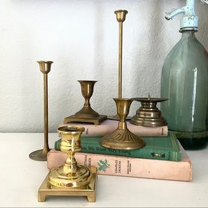 Brass Candlestick Candle Holder Lot Boho Wedding